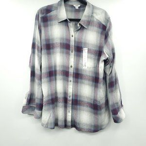 Sonoma Burgundy Plaid Button Down Supersoft Shirt